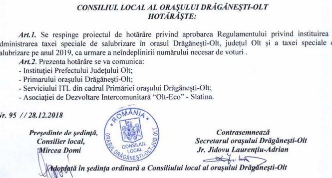 """Taxa specială de salubrizare, respinsă la Drăgănești-Olt  """"Lăsați că ducem gunoiul la groapa din județul Teleorman!"""""""